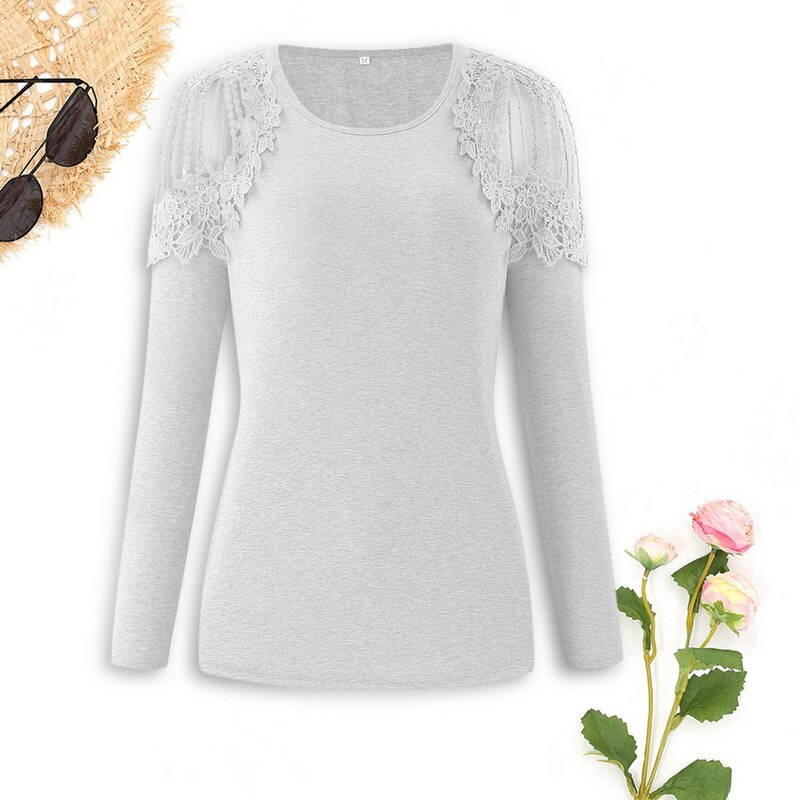 Oeak T-shirt Women Lace Long Sleeve Shirt Solid Color Vintage Hollow Out O Neck Solid Tops Autumn Female Casual Tees Top TShirt