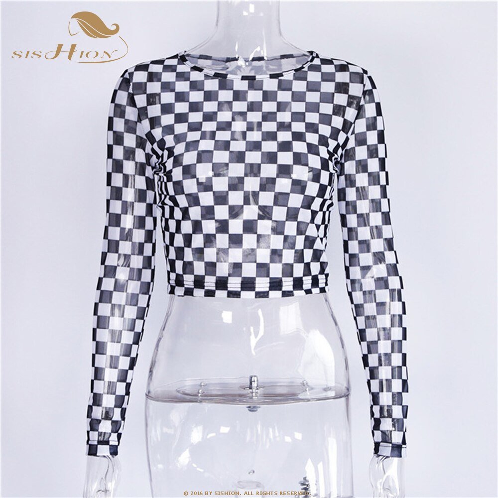 SISHION Spring Sexy Black White Plaid t-shirt for Women Mesh Perspective  Slim Tops Female t-shirt Long Sleeve Tee Shirts QY0773