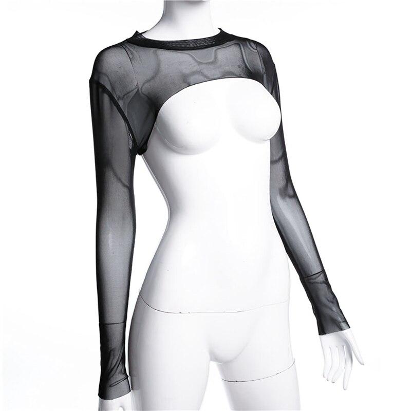 2018 Women Summer Black Sunscreen Mesh Top t-shirt Sexy Perspective Long Sleeve Crop Top O neck Tight tee shirt femme Tops Shirt