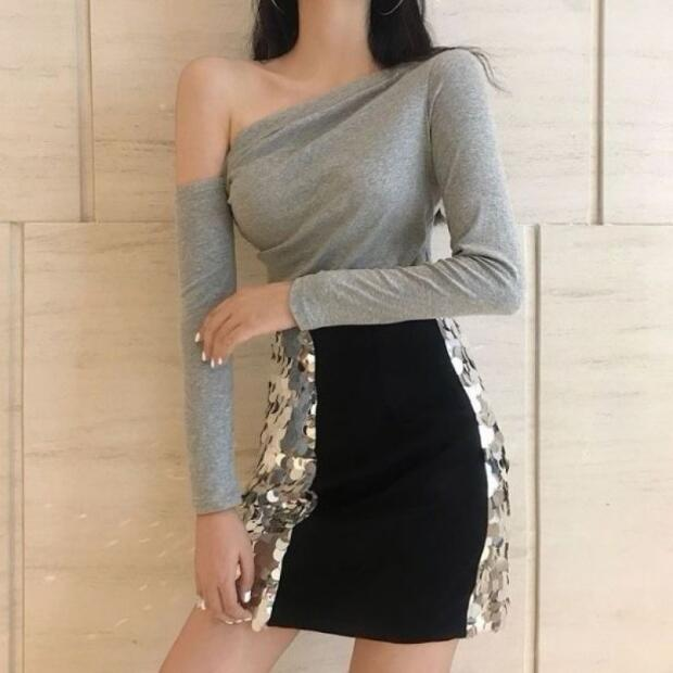 New Style Women T-shirts Solid Color Long Sleeve Off Shoulder Slash Neck Women Tops Tees Sexy Slim Fit Women T shirt
