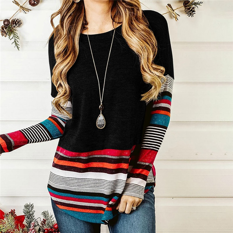 Striped T Shirt Women Splicing Long Sleeve Top Women Loose Tee Shirts Autumn Winter T-shirt Fashion Tops Tee Female O-neck Tee