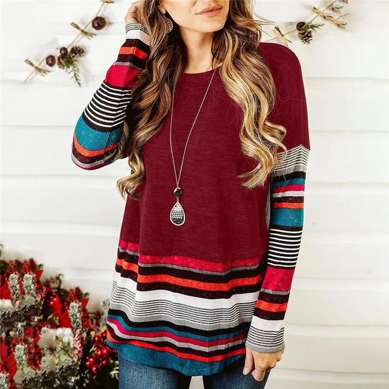 Striped T Shirt Women Splicing Long Sleeve Top Women Loose Tee Shirts Autumn Winter T-shirt Fashion Tops Tee Female O-neck Tee