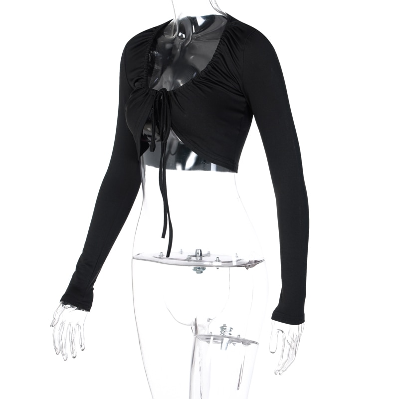 Chicology Fur Winter Fall Lace Up T-Shirt Long Sleeve Crop Top T Shirt Women Sexy Party Club Clothes Streetwear Solid Soft Tee