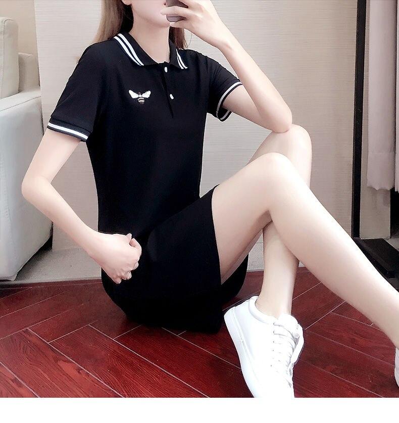 Polo Collar plus Size Dress Women's Summer Short-Sleeved Embroidered Dress Woman Dress Vestido De Mujer Femme Robe