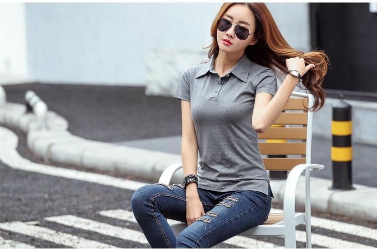 Ruoru Summer Fashion Polo Shirt Women New Casual Short Sleeve Slim Polos Mujer Shirts Tops Plus Size Female Cotton Polo Shirt