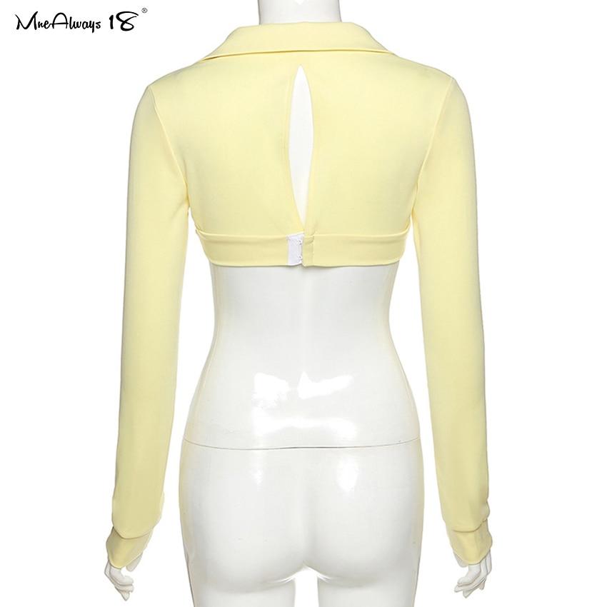 Mnealways18 Sexy Women Bodycon Tops Long Sleeve Polo T-Shirt Open Back Button Bustier Top Female Knitwear Slim Black Cropped Tee