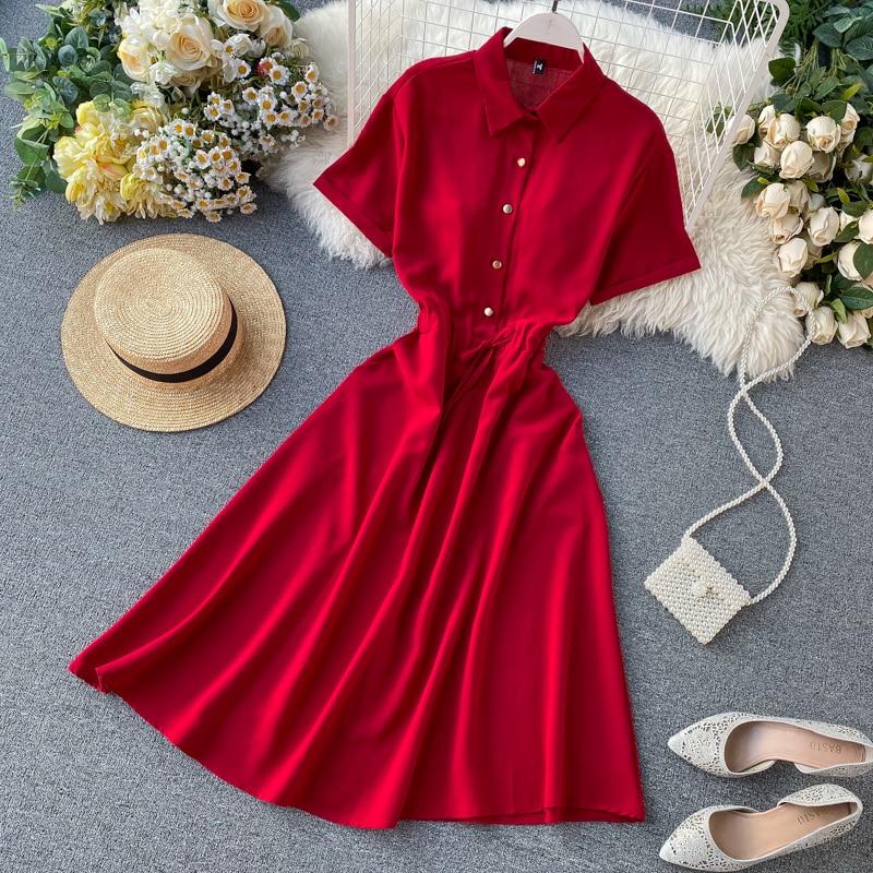 Slim 2021 Polo Neck Summer Midi Long Blouse Dress A-Line Party vestido de festa Dresses Women Casual Elegant Office Vestidos