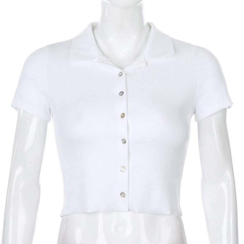 WJFZQM Solid Color Polos Top Women Short Sleeve T- shirt Ribbed Button Cardigan Crop top Women T Shirt Casual Summer tshirt 2020