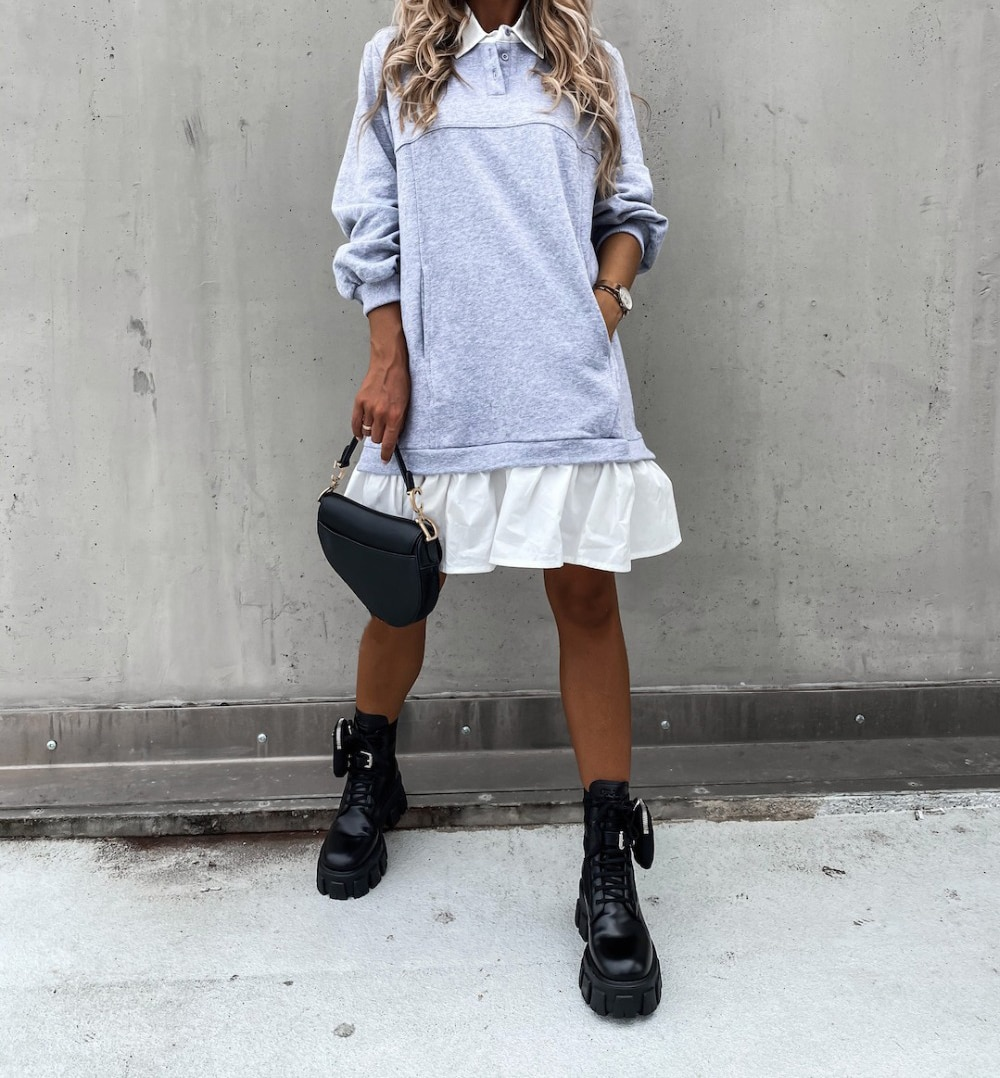 Women Autumn Loose Sweatershirt Dress Winter Long Sleeve Pleated Shirt Dress Polo Collar Female Casual Patchwork Hoodies Dress