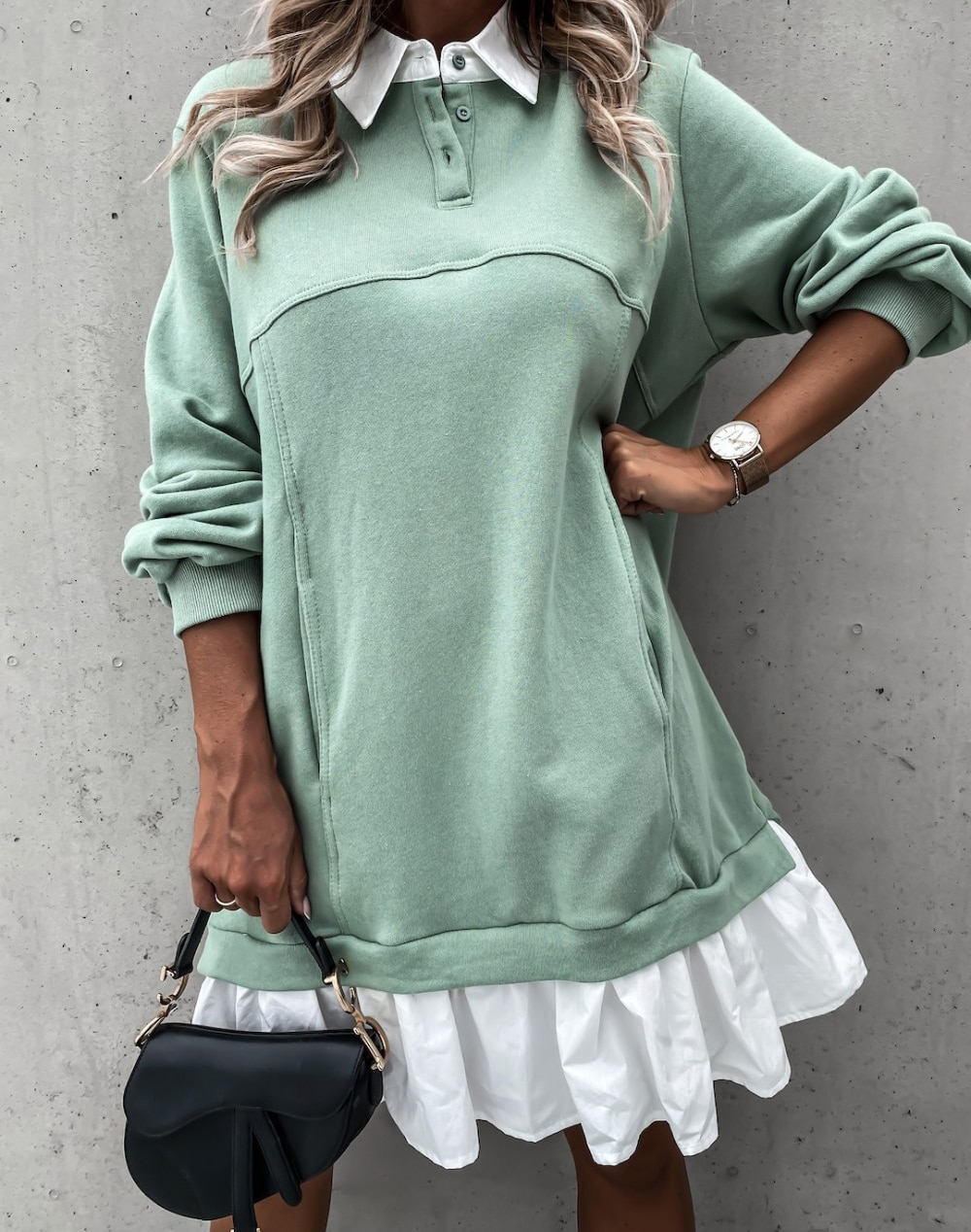 Women Autumn Loose Sweatershirt Dress Winter Long Sleeve Pleated Shirt Dress Polo Collar Female Casual Patchwork Hoodies Dress