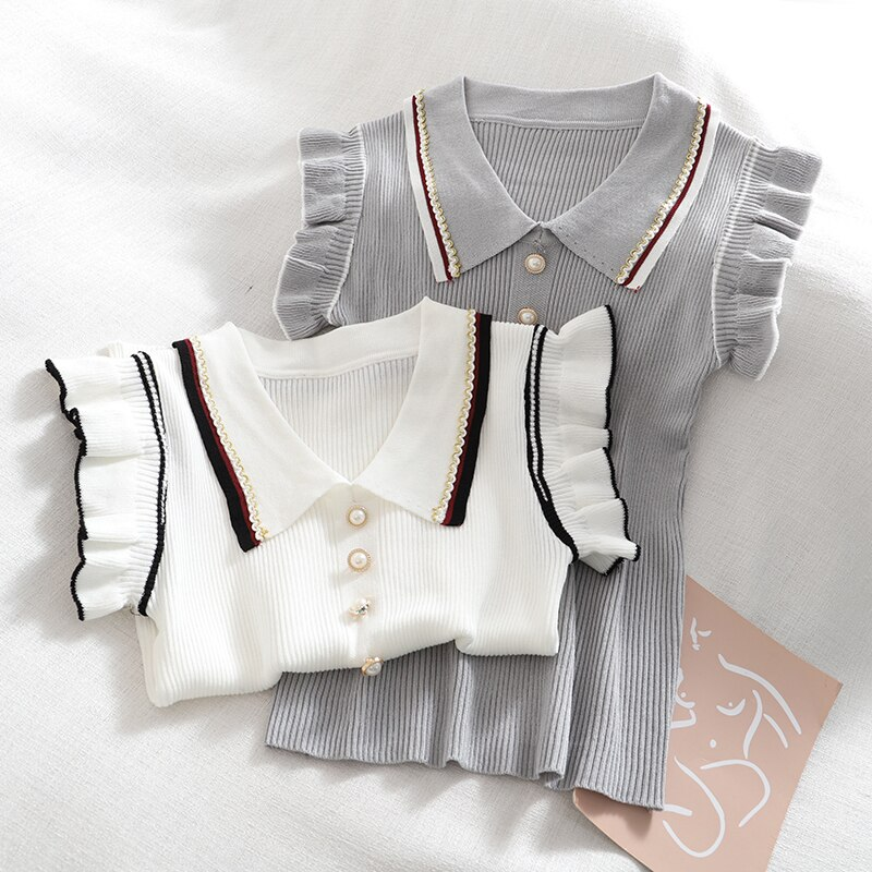 Camis For Women Tank Top Woman Polo Collar Vest Knitted Top Elegant Sweet Fashion TeeDropshipping