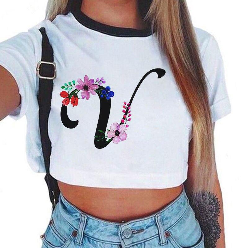 Girl Punk Style Bouquet English Letter Print Women T-shirt Y2K 2020 Summer Korean Harajuku Casual Crop Top O-neck Short T-shirts