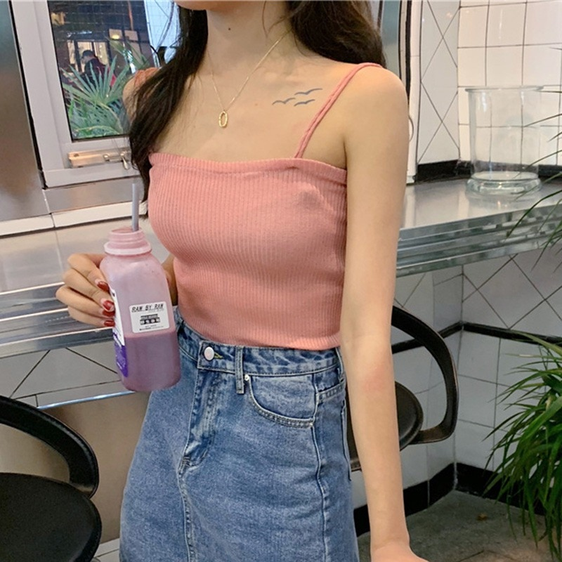 Women Sexy Tank Top Vest Off Shoulder Halter Sexy Thin Double Straps Knitted Camisole Women's t-shirt with straps