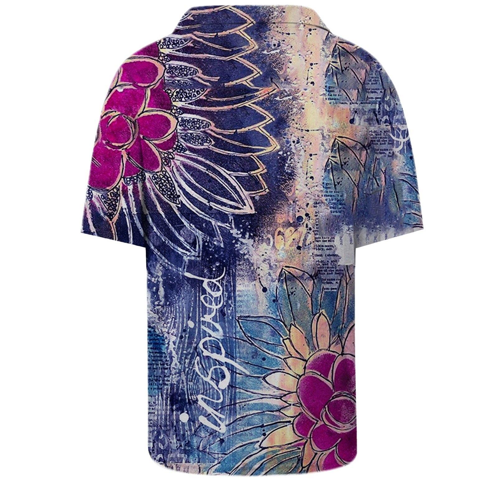 2021 Women's Shirt Fashion Autumn Retro Loose Deep V-Neck T Shirts Patchwork Retro Printing Long-Sleeved Shirt Ladies Shirts