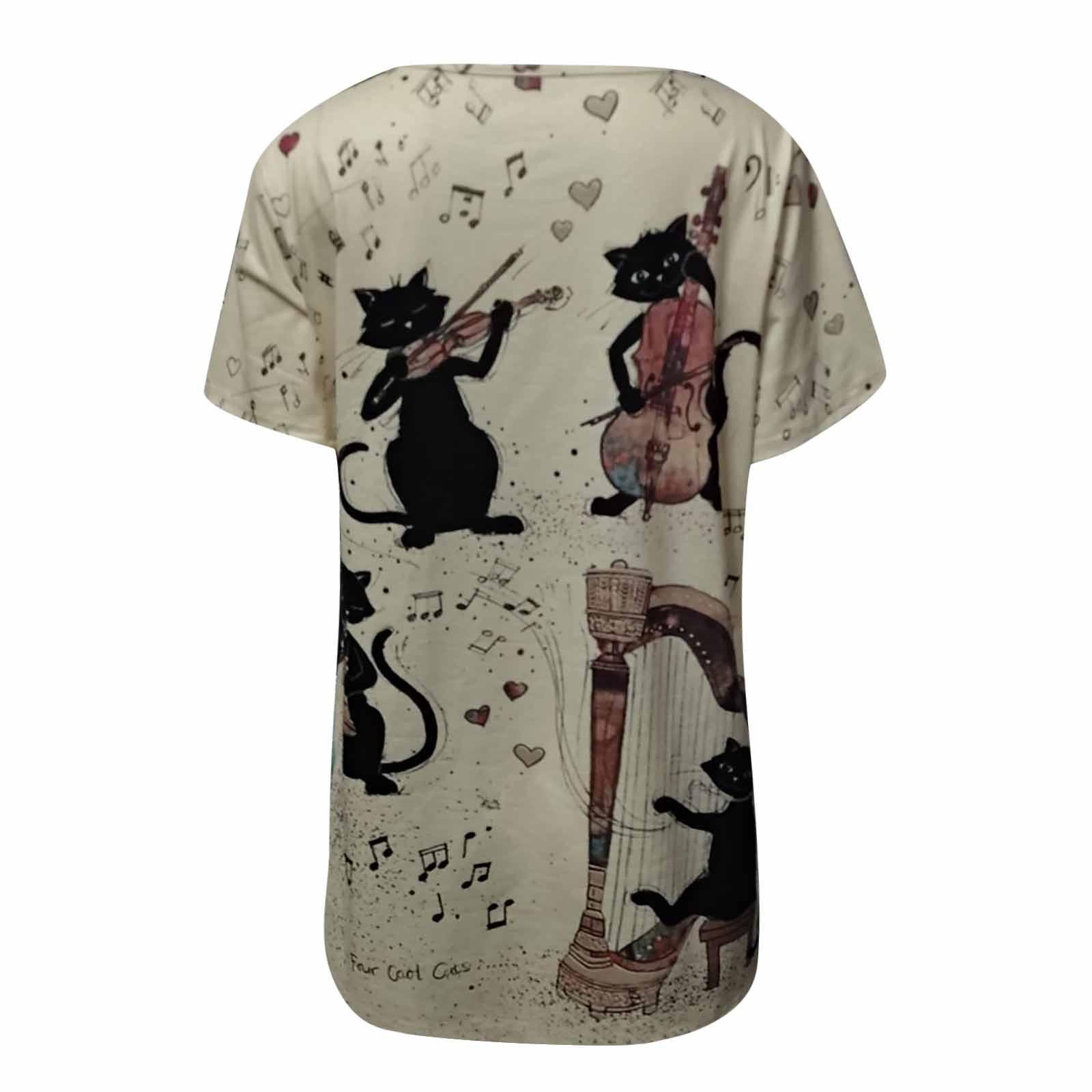 40# Women's T-shirts Cat Printing Harajuku Short Sleeve O-neck T Shirt Top Loose Summer Casual Tshirts Women's Tunic Футболки