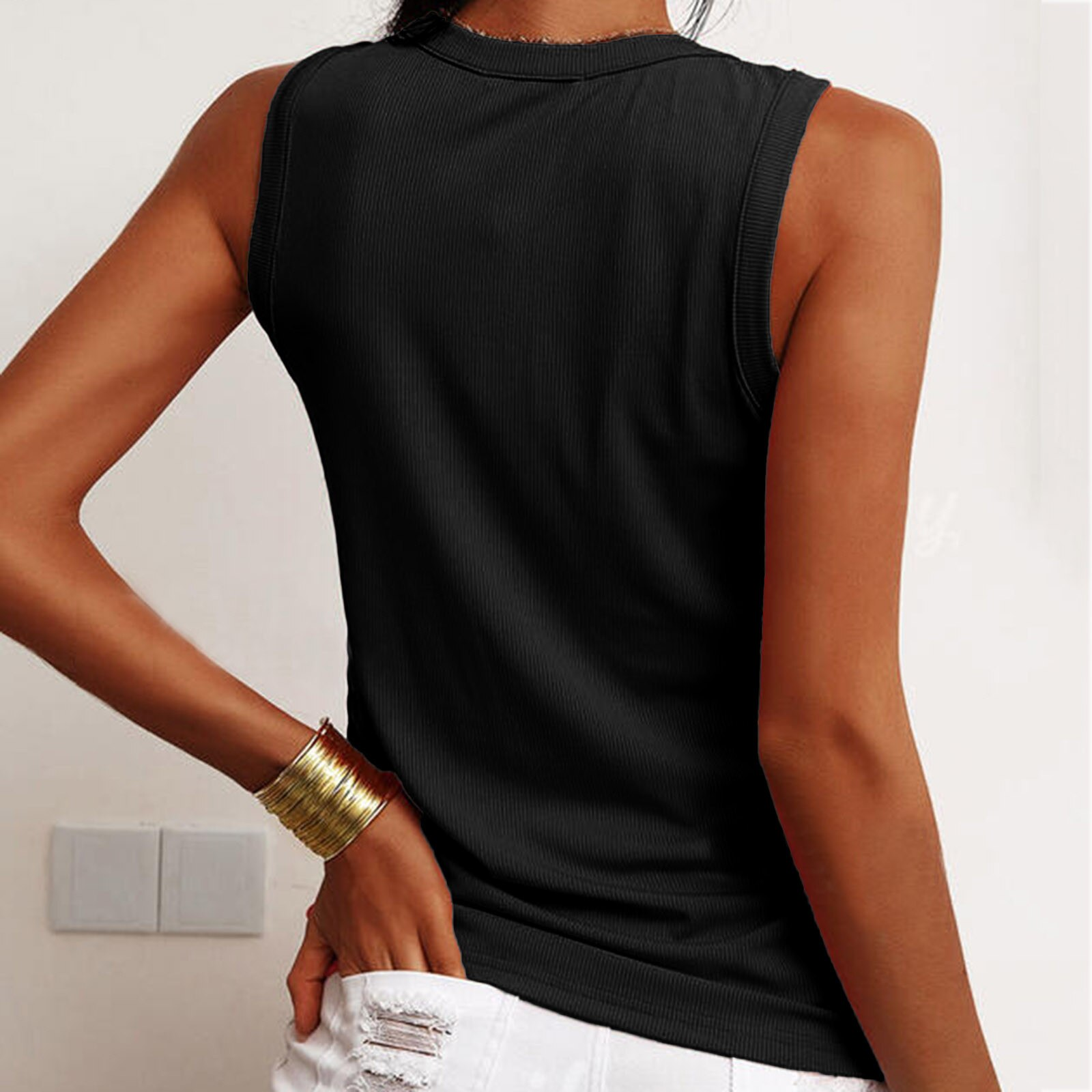 Women's 2021 Summer T-shirt VEST Fashion button V-neck Casual All-match T-shirt Tight-fitting Top Women clothing топ женский