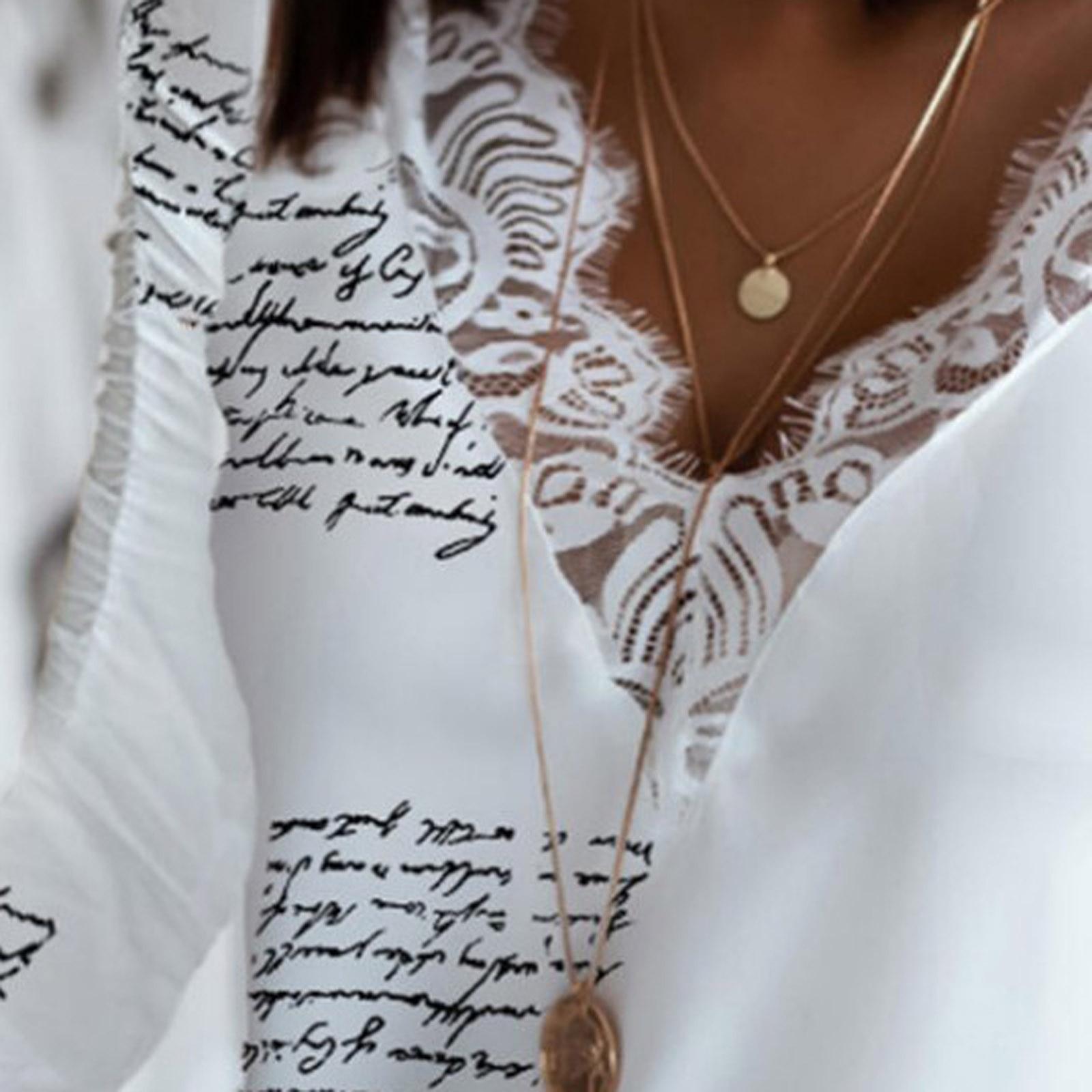 Women's Lace Print V-Neck T-Shirt Casual Long Sleeve Top Splicing Fashion Harajuku Streetwear Shirt Plus Size Women Clothes 2020