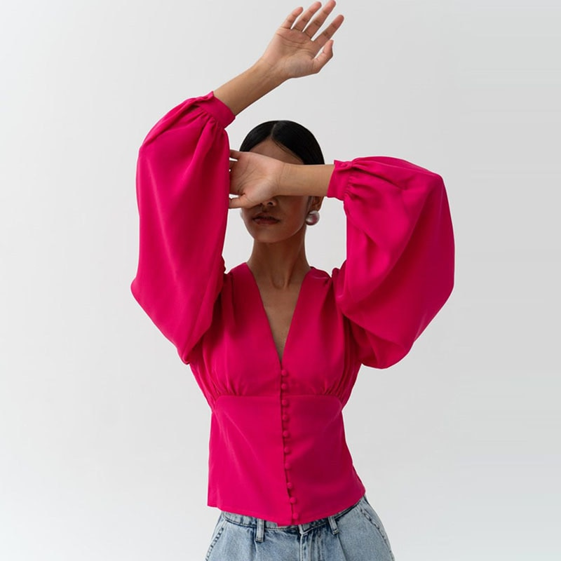 Julissa Mo White Button Up Fashion Women Blouses 2021 Spring Long Puff Sleeve V-Neck Shirt Elegant Sexy Slim Female Shirts Top