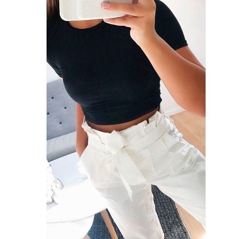 Summer Women Fashion Crop Tops Slim Tshirt Solid Color O-neck Short Sleeve T-shirt Casual Tees Basic Black White Regular