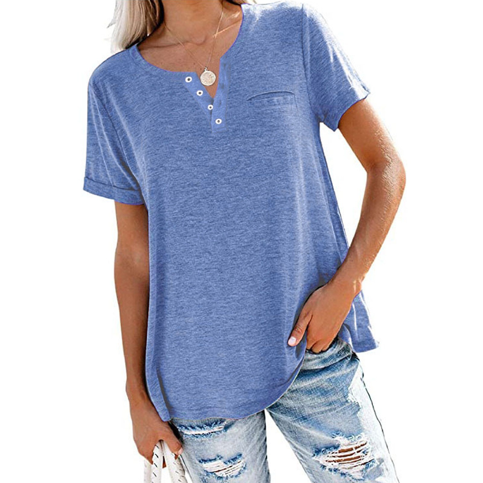 40# Women Loose Solid Basic T Shirt short Sleeve Round Neck T-shirt Hipster femme Funny Tshirts Women Женские Футболки 2021