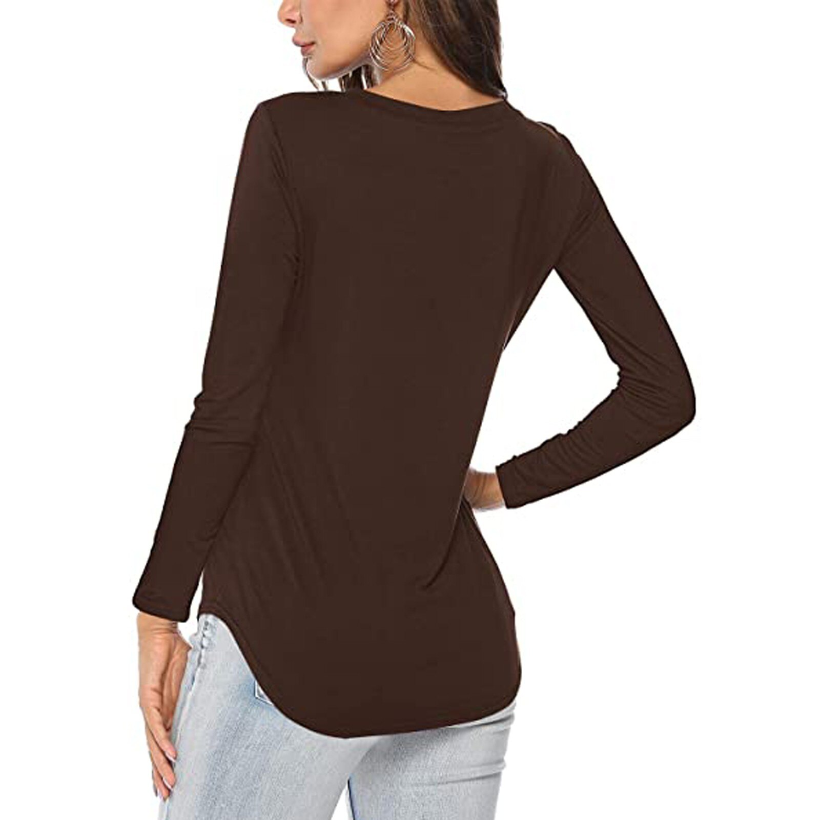 Women T-Shirts Sexy V Neck Top Solid Color Loose Long Sleeve Casual Lady Basic Tshirt Top Womens Clothing Autumn Spring Shirt