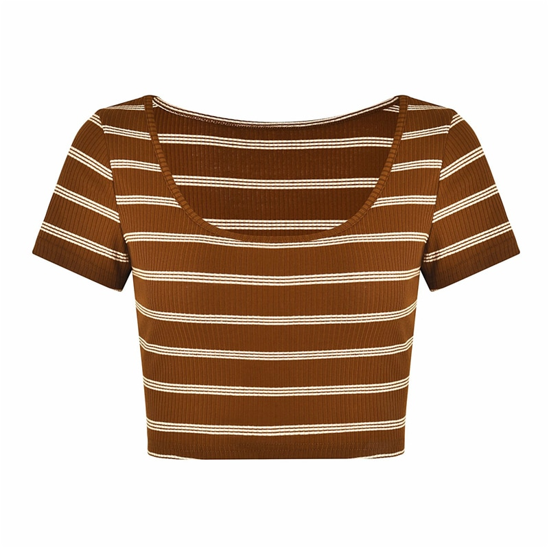 Red Stripe Cropped T Shirt Women Sexy Short Basic Tee Tops 2020 Summer High Street Chic Crop Top Femme Camisetas Mujer