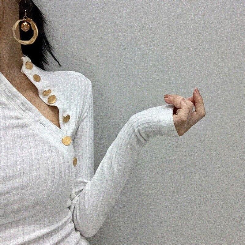 Sexy Slim Button V Neck Basic T Shirt Fashion Autumn Women T-shirt Top