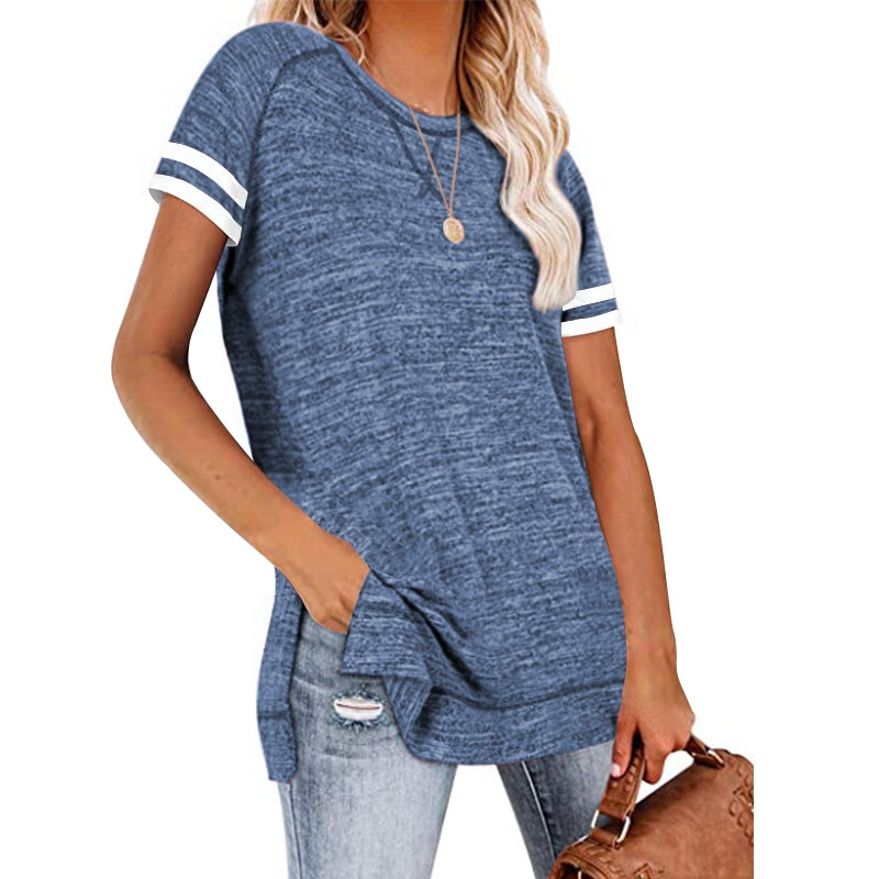 Loose Casual New T Shirt Summer Women Striped Short Sleeve T-shirts Side Splited Round Neck Pure Color Basic Tshirt Ladies 2XL