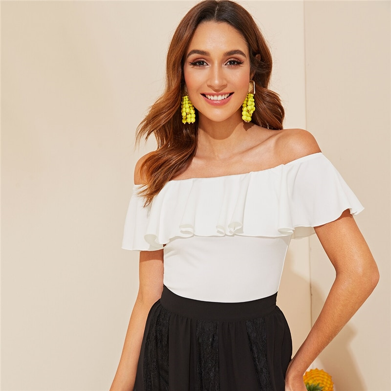 SHEIN Elegant White Flounce Off Shoulder Fitted Top Solid T Shirt Women Summer Sleeveless Basics Slim Tshirt Tops