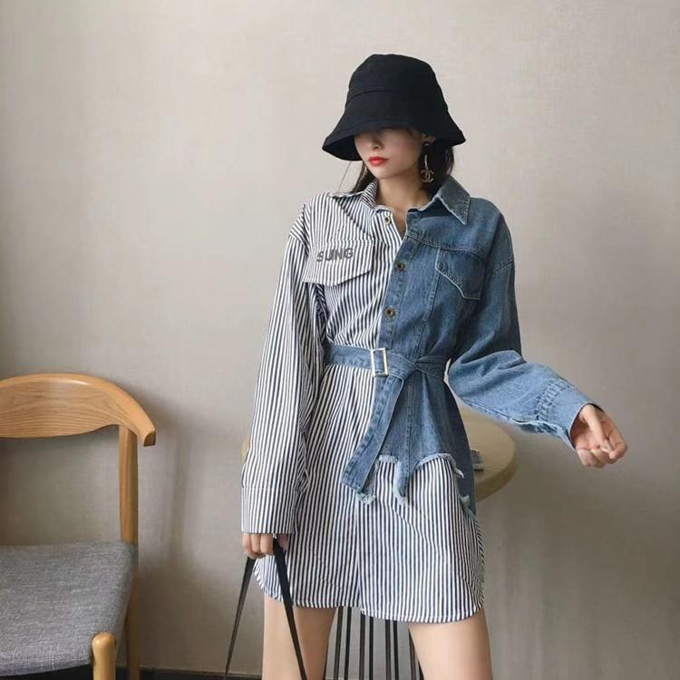 2021 Spring New camisa jeans feminina Shirt Cotton Female Long Sleeve Women's Letter Denim Shirt Loose Korean Plus Size Blouse