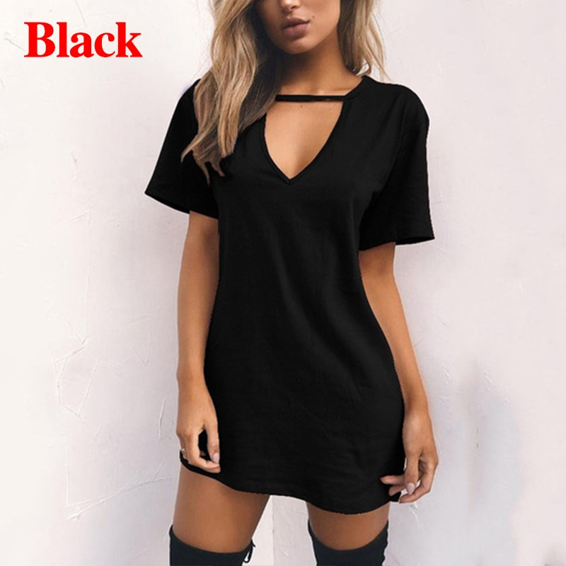 Summer Women Sexy Tshirt DressFemale Choker V Neck Dresses Girls Mini T-Shirt Dress Short Sleeve LadiesClothing Dropshipping