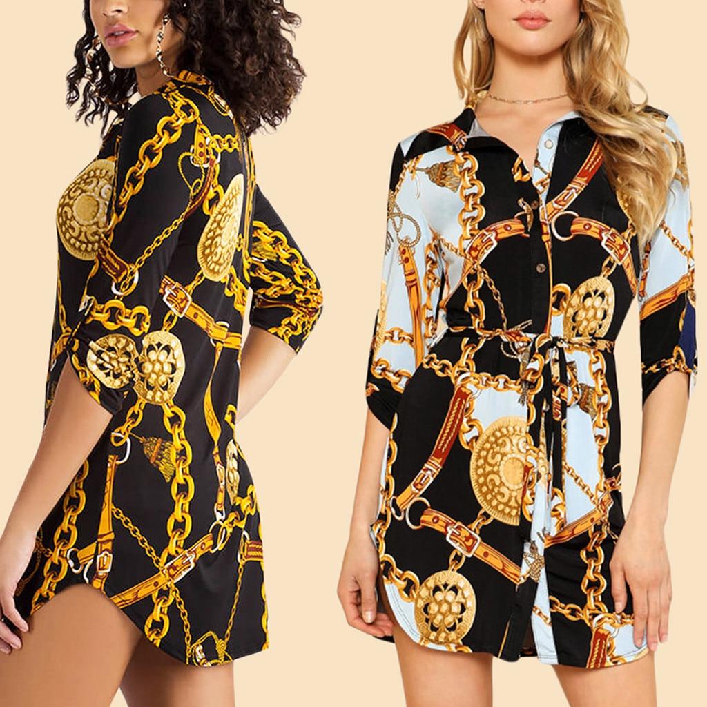 Summer Women Sexy Dress Long Sleeve Chain Print Shirt Dress Ladies Casual Mini Dress Summer Women Ladies Long Sleeve De Festa