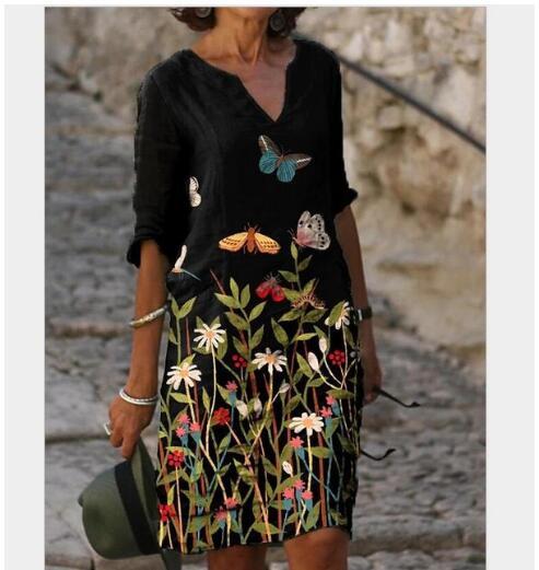 Women Shift Dress Knee Length Dress - Half Sleeve Floral Color Block Summer Fall V Neck Casual Hot vacation dresses Loose 2020