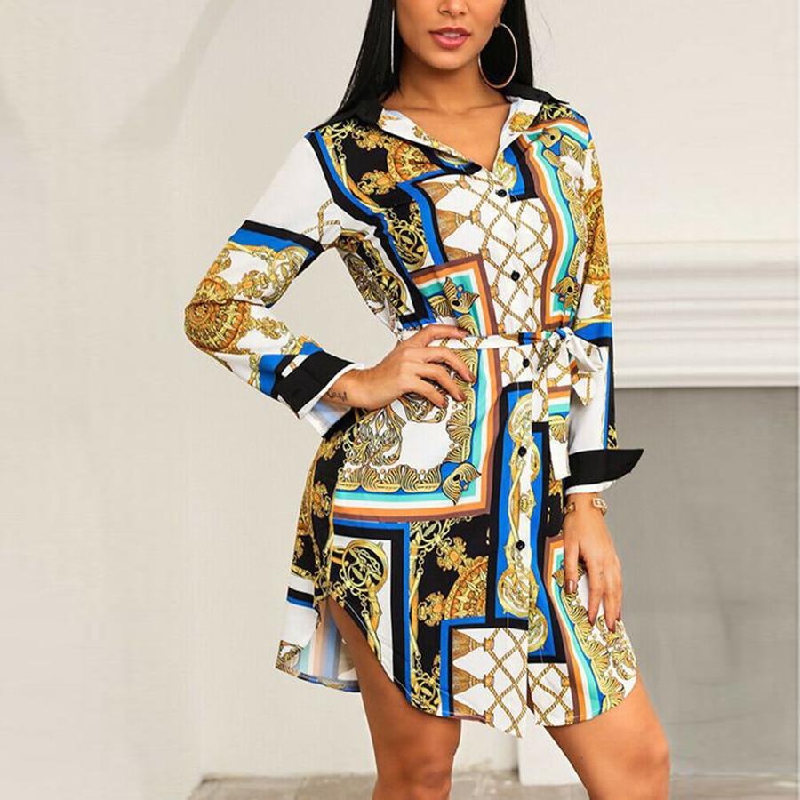 Spring and Autumn New Women's Shirt Dress Temperament Print Lace Dress Fashion Casual Short Shirt Dress