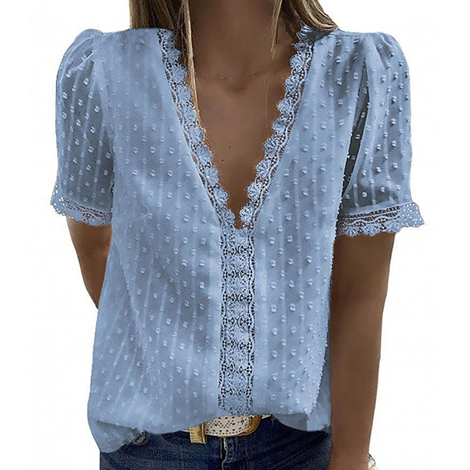 Summer Women Blouses Chiffon 2021 Elegant V Neck Short Sleeve Blouse Sexy Hollow Out Lace Ladies Shirts Solid Woman Shirt Tops
