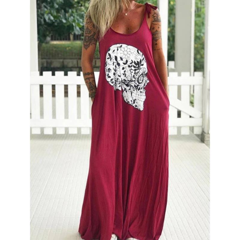 Summer Dresses Women Punk Style Loose Halter Neck Sleeveless Skull Print Female Shirt Dress Street Side High Split Flower Print