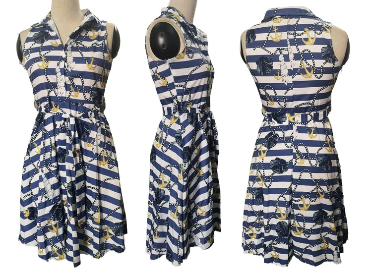 Women Girls Print Sleeveless Dress Casual Bandage Mini A line Dresses Sexy Party Bow Chain Print Sashes Striped Shirt Party Dres