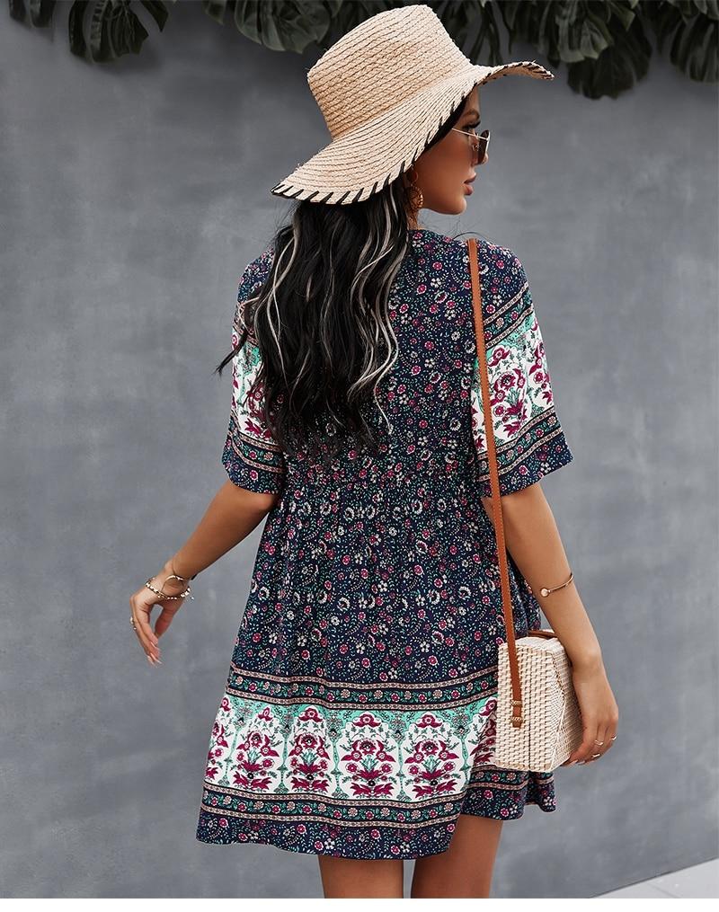 2021 Spring Print Short Dress Women Casual V Neck Bohemian Short Sleeve Dress For Woman Fashion Sexy Summer Dress