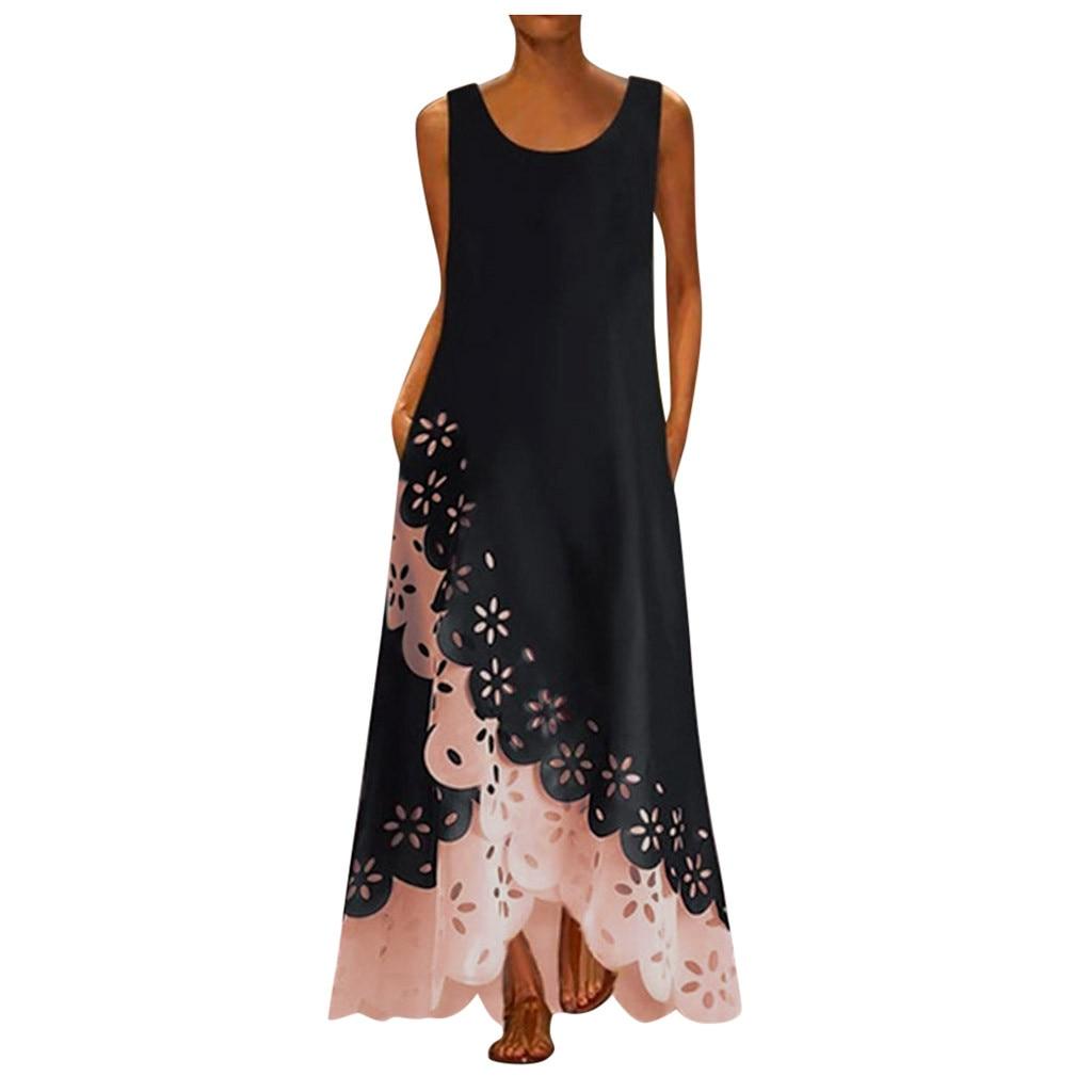 #H40 Women Sleeveless Dress Floral Print Patchwork Round Neck Long Maxi Dress Bohemia Beach Shirt Dresses For Women Vestido