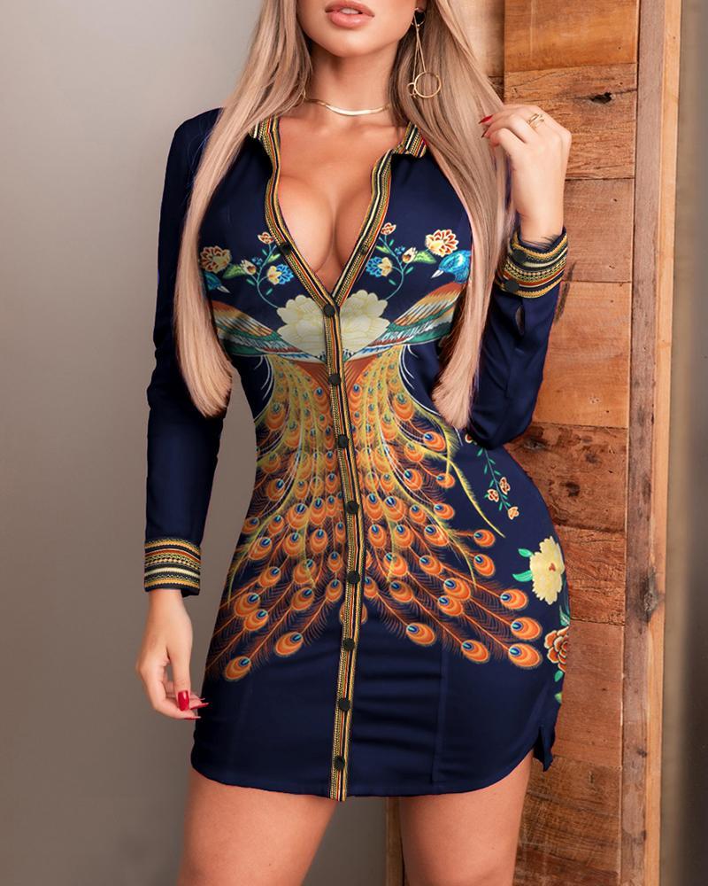 2021 Autumn Women Fashion Elegant Casual Long Sleeve Mini Phoenix Print Button Design Sides Slit Shirt Dress