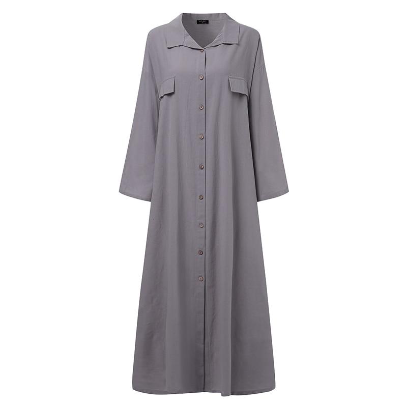 Women Dress Vintage Sexy  Turn-down Collar Buttons Shirt Maxi Long Dress VONDA 2021 Plus Size Party Vestidos Robe Femme S-5XL