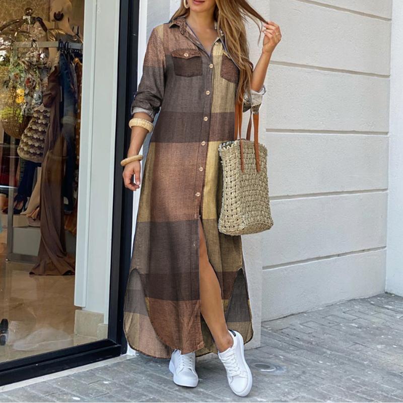 5XL Maxi Dress Women 2021 Female Striped Vestidos Casual Lapel Sundress ZANZEA Autumn Vintage Shirt Dress Plus Size Holiday Robe