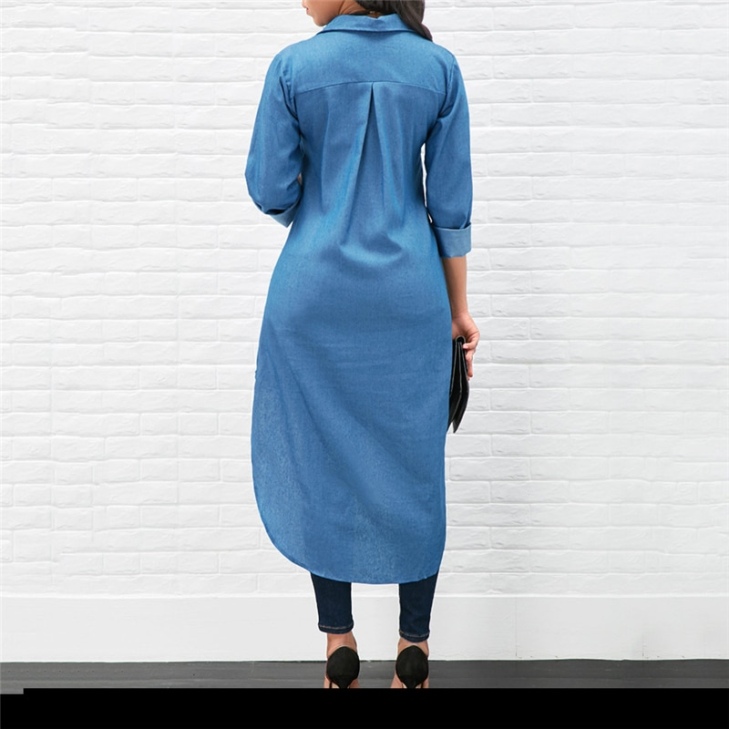 2021 Spring Fashion Denim Blue Dress Women Casual Lapel Long Sleeve Long Shirt Vestido Elegant Work OL Sundress