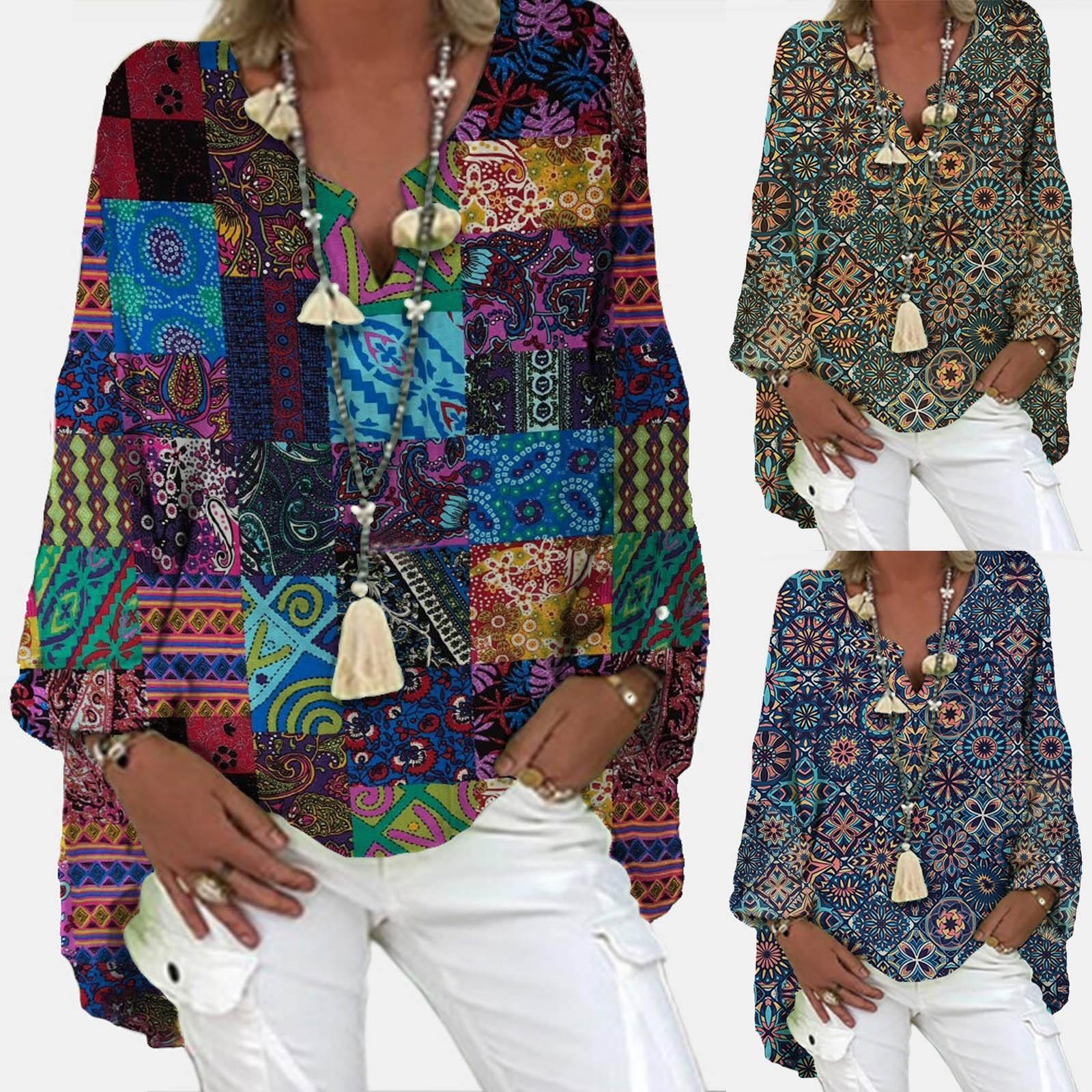 4# Jacquard Boho Print Blouse Shirts Women's Linen Cotton Loose Long Sleeve Blousesv-neck Top Women Clothing Blouses Shirts