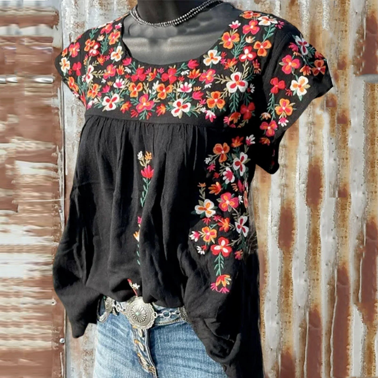 Blouses Women's Shirt Casual Floral Print Loose O-neck Short Sleeve Tanic Shirt Blouse Tops Women Clothing рубашка женская