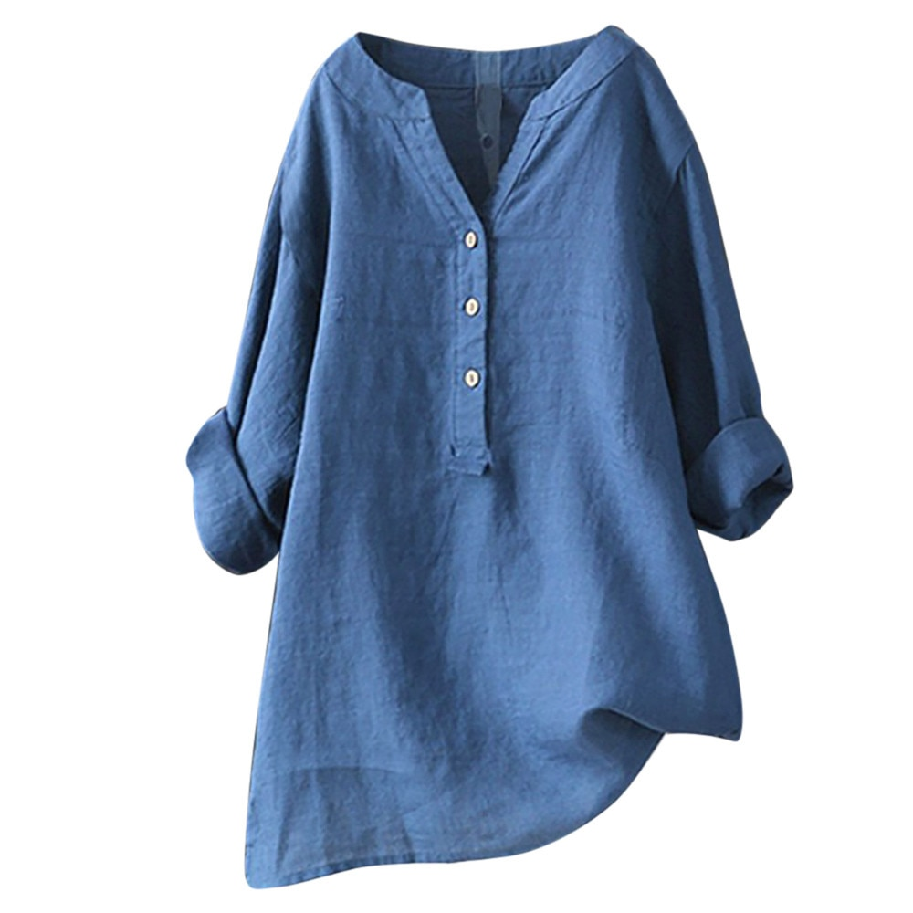 4# Cotton Linen Shirts Women Blouses Solid Stand Collar Elegant Blouseslong Sleeve Casual Loose Spring Button Down Tops Blusas