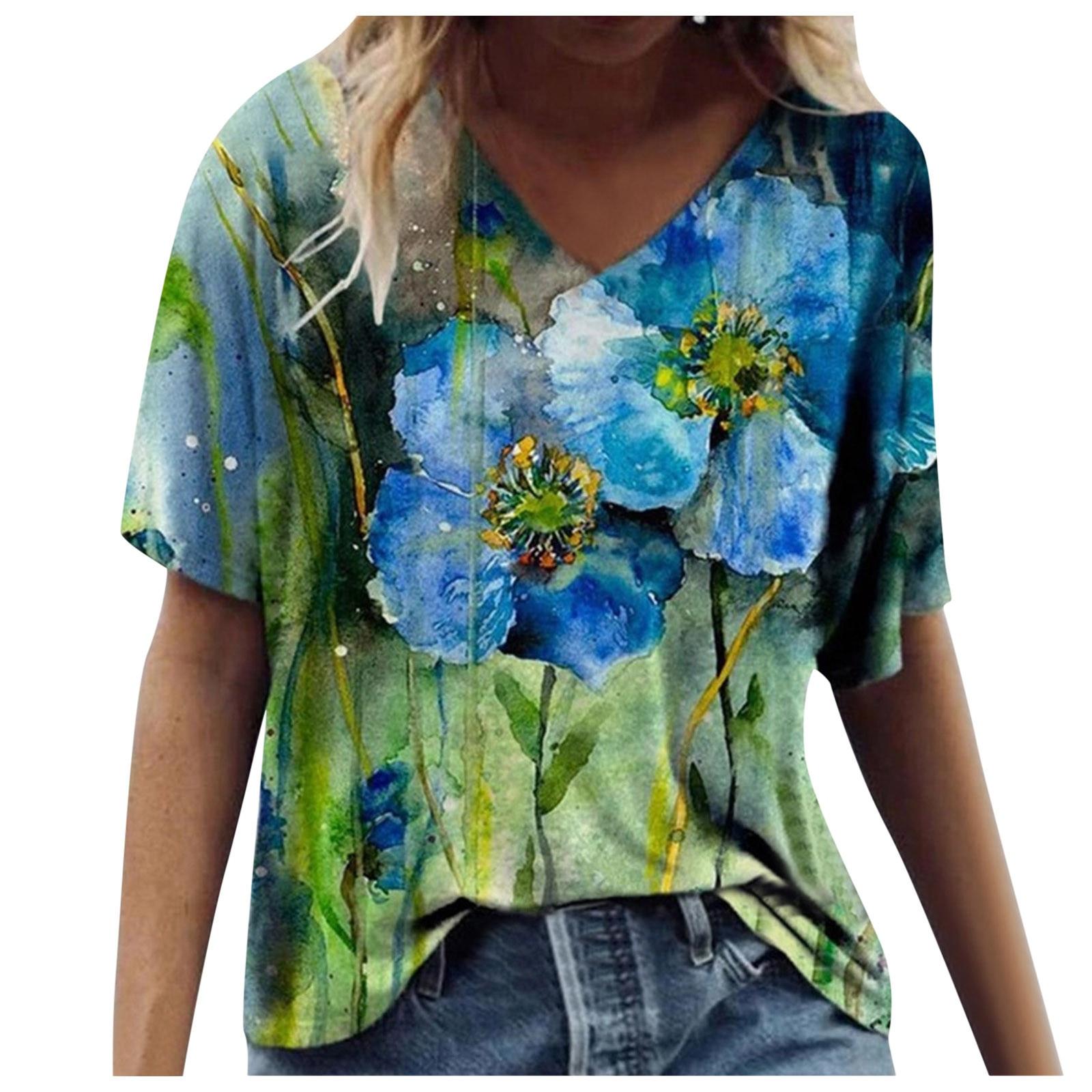 40# Plus Size T-shirt 2021 New Summer Harajuku Top Women Short Sleeve Printed V-neck Tops Tee Casual T-shirt Футболки Оверсайс