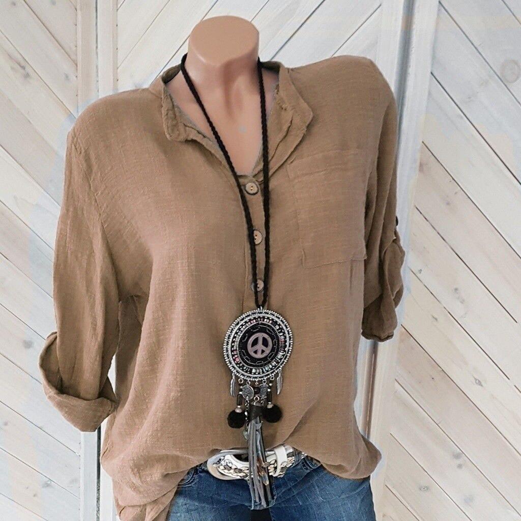 2020 Women Blouses Autumn Shirts Fashion Casual Long Sleeve Spring Top Loose Shirt Tops Cotton Linen Lady Blouse Plus Size 5XL