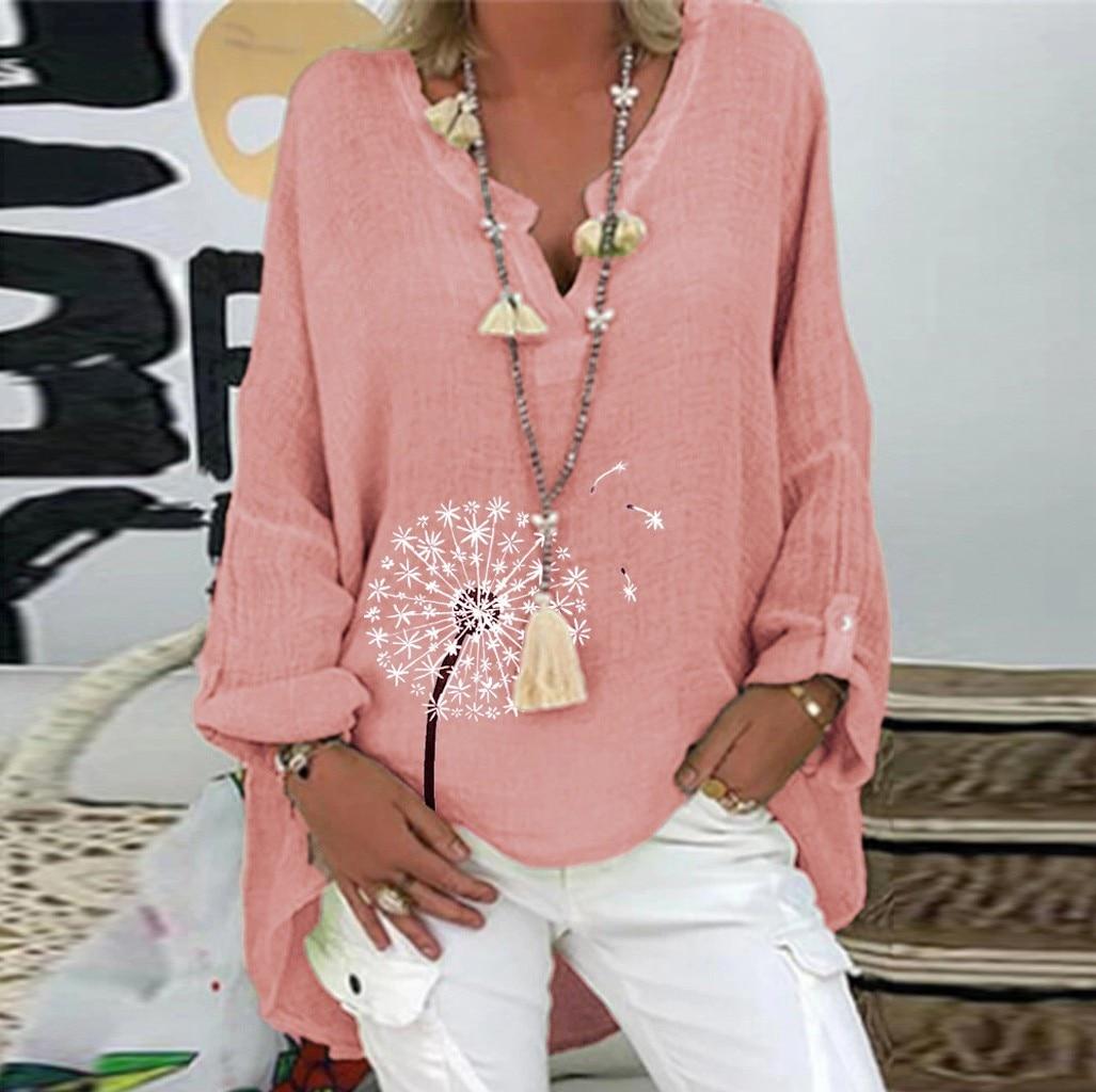 #S4 Floral Print Women Casual Cotton And Linen Blouses Long Sleeve Loose Blouse V-neck Plus Size Shirt Топ С Длинным Рукавом
