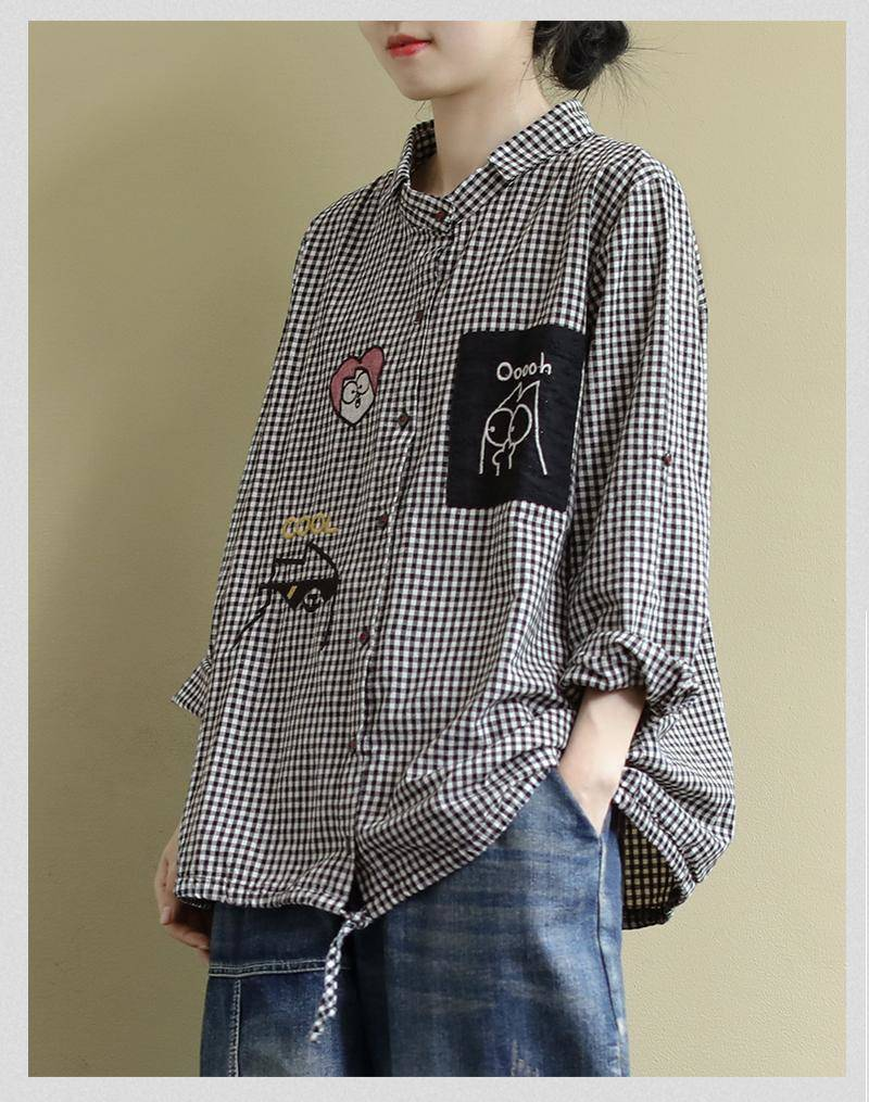 Women's Blouse Long Sleeve Top Elegant Blouses Oversize Shirt Button Up Plaid Blouses Shirt Embroidery Tops Women's Clothing